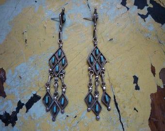 Vintage Long Zuni Petit Point Turquoise Sterling Silver Dangling Chandelier Earrings