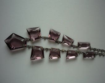 Stunning Vintage Art Deco Faceted Amethyst Crystal Rhinestone Choker Necklace