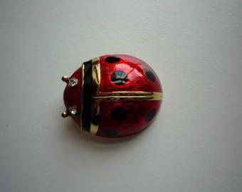 Vintage Lady Bug Large Enamel Gold Tone Rhinestone Pin Brooch