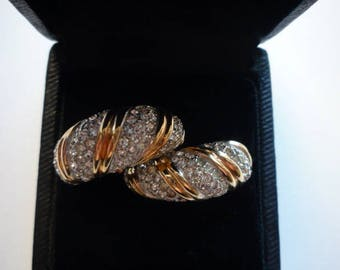 Vintage Marcel Boucher Pave Rhinestone Gold Tone Hoop Clip On Earrings