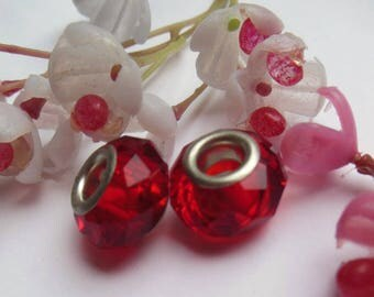 set of 2 Red style lampwork glass beads
