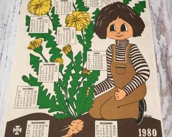 Vintage 1980 Belgian French Calendar Towel . Big Eyed Girl Print . Vintage Dish Towel . Retro Print Towel .