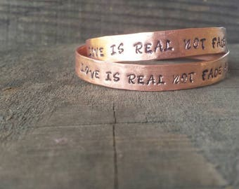 LOVE Is REAL Not Fade Away, Grateful Dead Inspired Jewelry, Personalized Jewelry, Music Inspired Bracelet