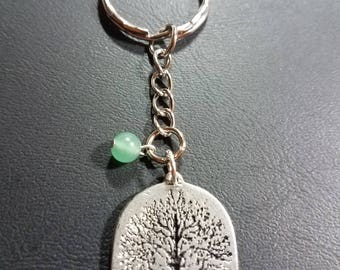 Wiccan Tree of Life Keychain with Aventurine Bead