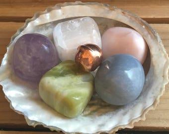 "My ""Please Hold My Hand"" stone set,Angel Stone,Spiritual Stones,Healing Stones, Chakra Stones, Healing Crystals"