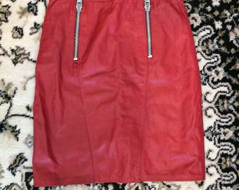 80's vintage red high waisted leather skirt S
