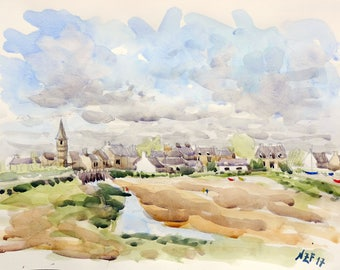 "Landscape original watercolor ""View of Portbail, Normandy"" painting countryside decor france sea decor wall france french art sea normandy"