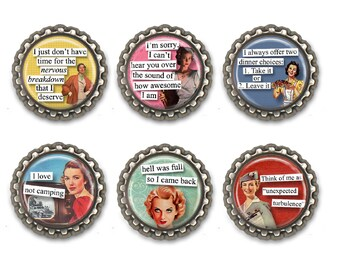 Funny retro housewife magnets, humorous girlfriend gift for her, mid century magnets. Set of 6.