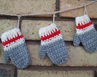 Work sock mitten garland photo prop / Sock monkey mitten banner mantle decor / Grey Red Cream mitten garland / photo booth garland