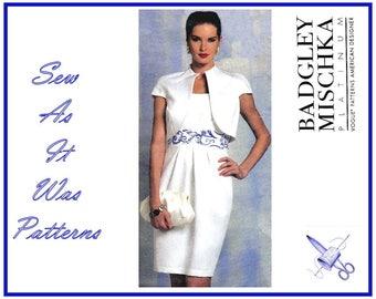 2000s FF Uncut Vogue 1154 American Designer Badgley Mischka Strapless Dress Bolero Jacket Sewing Pattern Size 14 16 18 20 Bust 34 46 48 40