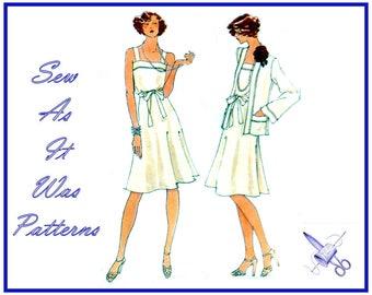 """FF Unused 1970s Vogue 8947 Square Neck Shoulder Strap Blouson Flared Skirt Dress Cardigan Jacket Vintage Sewing Pattern Size 14 Bust 36"""""""