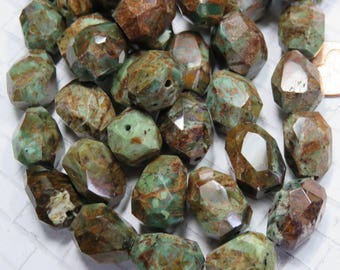 Green Opal Large Faceted Nugget Beads, 4 Beads - Item 5105