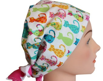 Scrub Hat Surgical Scrub Cap Chemo Vet Nurse Dr Hat European Pixie Style Bad Hair Day Hat Calico Cats 2nd Item Ships FREE