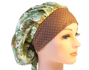 Scrub Cap Surgical Hat Chef   Dentist Hat Tie Back Bouffant  Camo Skulls Green Brown 2nd Item Ships FREE