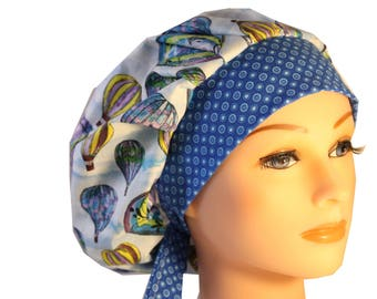 Scrub Cap Surgical Hat Chef   Dentist Hat Tie Back Bouffant Hot Air Balloons Dots 2nd Item Ships FREE
