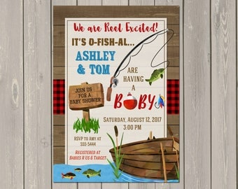 Fishing Baby Shower Invitation, Fish Baby Shower Invitation, Coed Baby  Shower Invite, Outdoor