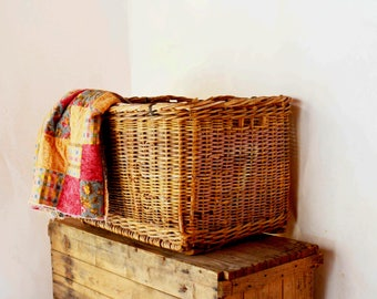 Large Wicker Basket, Antique Cotton Picking Basket, Heavy Duty Woven Basket, Rectangular Storage Bin, Storage Basket, Farmhouse Basket