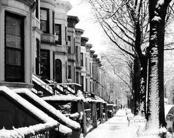 New York Photograph - Brownstone/limestone Brooklyn - Winter Street Art - Snowy Winter - New York Street Scene - Architecture - Landscape