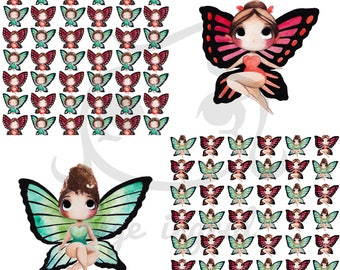 Set of 4 cards - Butterfly Babes & Babies