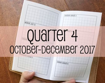 Traveler's Notebook PERSONAL Size Week on Two Pages Grid Horizontal {Q4 | October-December 2017} #700-19