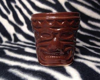 Single Dark Brown Espresso Tiki Shot Glass Handmade Hand Made OHIO USA Hawaiian Polynesian Beach