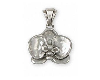 Orchid Jewelry Sterling Silver Orchid Pendant Handmade Flower Jewelry OR2-P