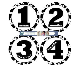 Baby Month Stickers, Monthly Baby Stickers, Set of 12 Milestone Stickers, Unisex, Gender Neutral Farm, Cow, AnimalBaby Shower Gift
