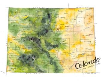Colorado State Map // ILLUSTRATION // 14x11