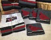 Rug Hooking Kit, Cardinal Mug Rugs  5 x 5  K134