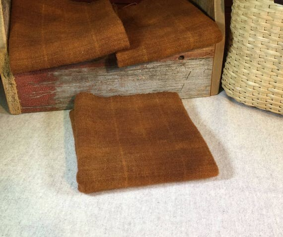 Dark Pumpkin Plaid, Hand  Dyed Wool Fabric for Rug Hooking, Applique, Penny Rugs, Fiber Arts, Fat Quarter Yard  W301