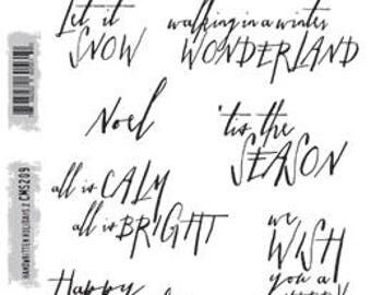 Tim Holtz HANDWRITTEN HOLIDAYS 2 Cling Stamp set STAMPERs ANONYMOUS Christmas Winter Season greetings CMS209 cc11