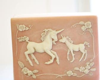 Unicorn Jewelry Box, Incolay Cameo Jewelry Box Treasure Chest Box, Vintage Pink Jewelry Trinket Box