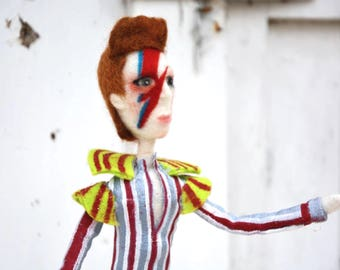 Ziggy art doll, customize your doll, needle felted puppet, glam figurine for musician, rock and roll textile sculpture, unique gift for man