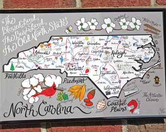 "North Carolina Map Print 17""x11"""