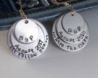 Couples Hand Stamped Necklace and Key Chain Set
