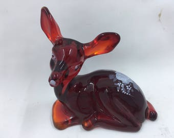 Fenton deer fawn red glass hand painted