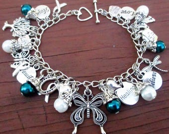NEW Teal and White Awareness Butterfly Charm Bracelet Cervical Cancer