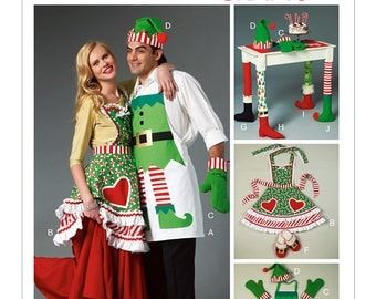 Cheapest Shipping. Christmas Crafts Pattern. McCall's 6860. Elf Apron Pattern, Chair Leg Cover, Elf Slippers, Mrs.Clause Apron, Oven Mitts