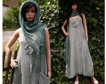 Kim Jade - Hand Dyed Long Linen Jumper Dress with Big Pocket and Applique Rose Lagenlook Clothing OOAK