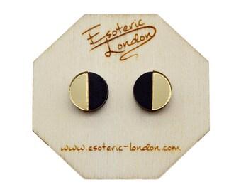 Geometric Stud Earrings/ Acrylic Jewellery/ Mirror Studs/ Geo Studs/ Classic Earrings/ Black and Gold Studs/ Chic Earrings