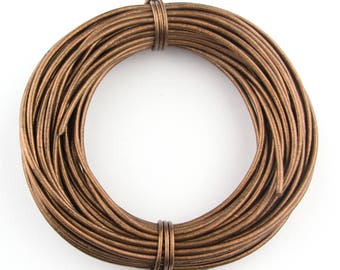Bronze Metallic Round Leather Cord 1mm 100 meters (109 yards)