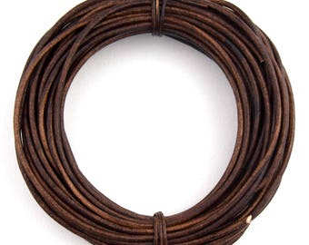 Brown Distressed Natural Dye Round Leather Cord 2mm 50 meters (54 yards)