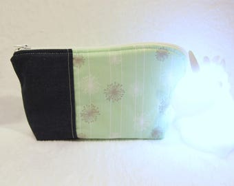 Vanity case in cotton denim and pastel green