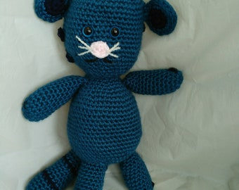 Little Blue Tiger stuffed animal, crocheted soft tiger, ocean blue with navy stripes, ready to ship