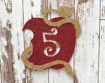 Descendants 2 Apple Symbol Glitter Die Cut/Birthday Party Decoration/ Embellishment/Cake Topper - 5 Years old