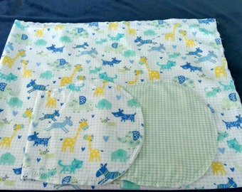 Zoo Animal Cats and Dogs with Green and White Backing Hemstitched Baby Blanket and Burps ready for you to crochet by Lindas Hemstitching