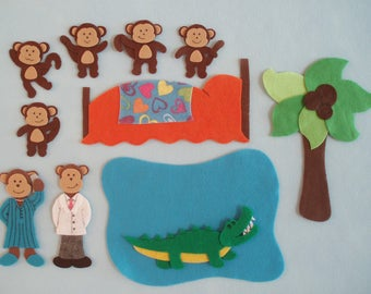 5 Little Monkeys (Jumping on the Bed/Teasing Mr. Alligator)Felt Board Story/Flannelboard Story/Teacher Resource/Preschool Story/Storytelling