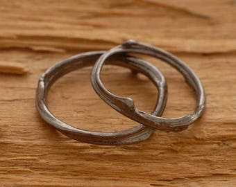 15%OFF-Ships on Sept15 Unique Wedding Band Set, Modern Sterling Silver Wedding Bands, Tree Branch Rings BE35m