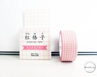 Washi Tape Pink Grid Minimalist Aesthetic
