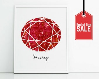 Ruby art print - January birthstone prints - bargain art sale - clearance end of line - 8x10 inch prints - birthday gift for January